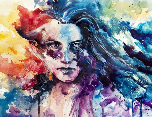 watercolor image of girl