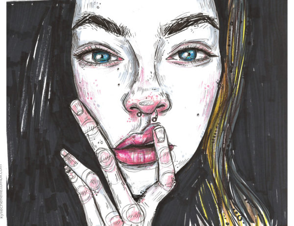 illustration of girl with nose ring
